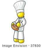 #37830 Clip Art Graphic Of A Yellow Guy Character Chef Mixing Ingredients