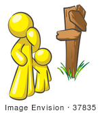 #37835 Clip Art Graphic Of A Yellow Guy Character And Child At A Crossroads