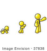 #37838 Clip Art Graphic Of A Yellow Guy Character Growing From A Baby To A Man