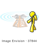 #37844 Clip Art Graphic Of A Yellow Guy Character Talking On A Phone By A Tower