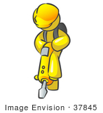 #37845 Clip Art Graphic Of A Yellow Guy Character Operating A Jack Hammer