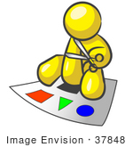 #37848 Clip Art Graphic Of A Yellow Guy Character Cutting Out Shapes