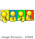 #37849 Clip Art Graphic Of A Yellow Guy Character In Different Poses With Colorful Backgrounds