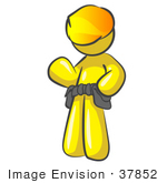 #37852 Clip Art Graphic Of A Yellow Guy Character With A Hardhat And Tool Belt