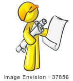 #37856 Clip Art Graphic Of A Yellow Guy Character With Blueprints