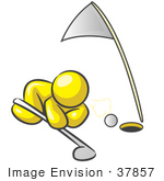 #37857 Clip Art Graphic Of A Yellow Guy Character Trying To Blow A Golf Ball Into The Hole