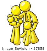 #37858 Clip Art Graphic Of A Yellow Guy Character Family