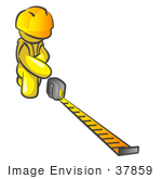 #37859 Clip Art Graphic Of A Yellow Guy Character Measuring