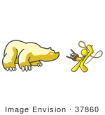 #37860 Clip Art Graphic Of A Yellow Guy Character Taming A Bear