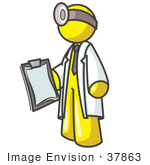 #37863 Clip Art Graphic Of A Yellow Guy Character Doctor Wearing A Head Lamp