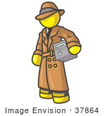 #37864 Clip Art Graphic Of A Yellow Guy Character Investigator Carrying A Box