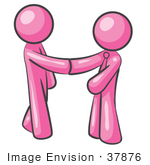 #37876 Clip Art Graphic Of Pink Guy Characters Shaking Hands