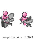 #37879 Clip Art Graphic Of Pink Guy Characters Using Laptop And Desktop Computers