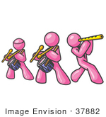 #37882 Clip Art Graphic Of Pink Guy Characters Playing A Flute And Drums In A Band