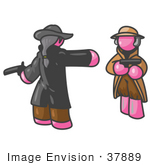 #37889 Clip Art Graphic Of Pink Guy Characters Dueling