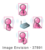 #37891 Clip Art Graphic Of Pink Guy Characters Holding A Conference With Headsets