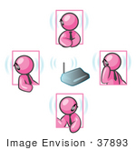 #37893 Clip Art Graphic Of Pink Guy Characters With Bluetooth Headsets
