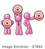 #37894 Clip Art Graphic Of Pink Guy Characters Holding Targets