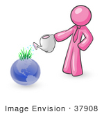 #37908 Clip Art Graphic Of A Pink Guy Character Watering Earth