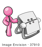 #37910 Clip Art Graphic Of A Pink Guy Character With A Rolodex