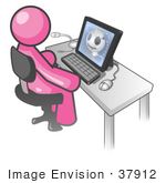 #37912 Clip Art Graphic Of A Pink Guy Character Using A Computer