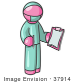 #37914 Clip Art Graphic Of A Pink Guy Character Surgeon In Scrubs