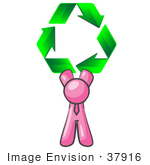 #37916 Clip Art Graphic Of A Pink Guy Character Holding Recycle Arrows