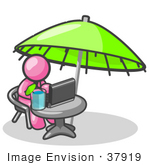 #37919 Clip Art Graphic Of A Pink Guy Character Using A Laptop Under An Umbrella