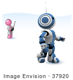 #37920 Clip Art Graphic Of A Pink Guy Character Controlling A Robot