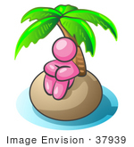 #37939 Clip Art Graphic Of A Pink Guy Character On An Island