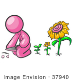 #37940 Clip Art Graphic Of A Pink Guy Character Planting Sunflowers