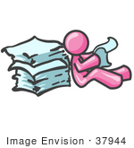 #37944 Clip Art Graphic Of A Pink Guy Character Reading Papers