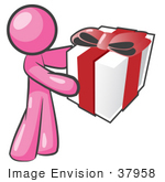 #37958 Clip Art Graphic Of A Pink Guy Character Holding A Gift