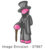 #37967 Clip Art Graphic Of A Pink Guy Character As Abraham Lincoln