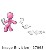 #37968 Clip Art Graphic of a Pink Guy Character Dropping Papers by Jester Arts