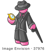 #37976 Clip Art Graphic Of A Pink Guy Character With A Cane Looking At A Pocket Watch