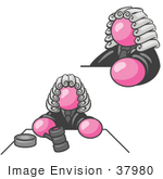 #37980 Clip Art Graphic Of A Pink Guy Character Judge