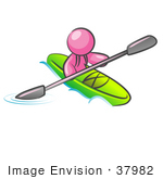 #37982 Clip Art Graphic Of A Pink Guy Character Kayaking