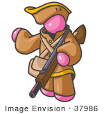 #37986 Clip Art Graphic of a Pink Guy Character Hunting With a Rifle by Jester Arts
