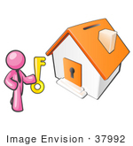 #37992 Clip Art Graphic Of A Pink Guy Character Holding The Key To A House