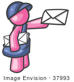 #37993 Clip Art Graphic Of A Pink Guy Character Delivering Mail