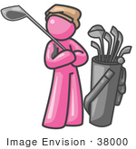 #38000 Clip Art Graphic Of A Pink Guy Character Golfing