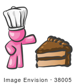 #38005 Clip Art Graphic Of A Pink Guy Character Chef With Chocolate Cake