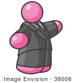 #38006 Clip Art Graphic Of A Fat Pink Guy Character Pointing