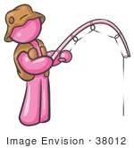 #38012 Clip Art Graphic of a Pink Guy Character Fishing by Jester Arts