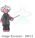 #38013 Clip Art Graphic Of A Pink Guy Character As Einstein Pointing To A Ufo