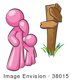 #38015 Clip Art Graphic Of A Pink Guy Character And Child At A Crossroads