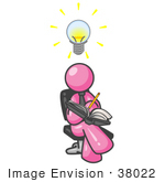 #38022 Clip Art Graphic Of A Pink Guy Character Jotting Ideas Down In A Book