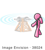 #38024 Clip Art Graphic Of A Pink Guy Character Talking On A Phone By A Tower