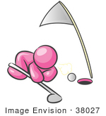 #38027 Clip Art Graphic Of A Pink Guy Character Trying To Blow A Golf Ball Into A Hole